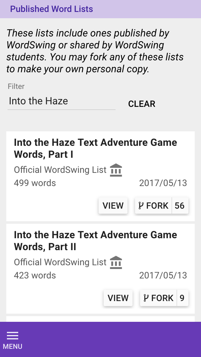 Into the Haze word lists