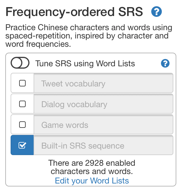 SRS word lists menu screenshot